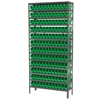 Steel Shelving Kit, 12x36x79, 144 Bins, Gray/Green