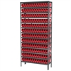 Akro-Mils Steel Shelving Kit, 12x36x79, 144 Bins, Gray/Red