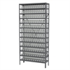 Akro-Mils Steel Shelving Kit, 12x36x79, 144 Bins, Gray/Clear