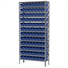 Akro-Mils Steel Shelving Kit, 12x36x79, 96 Bins, Gray/Blue