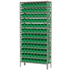 Steel Shelving Kit, 12x36x79, 96 Bins, Gray/Green