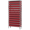 Akro-Mils Steel Shelving Kit, 12x36x79, 96 Bins, Gray/Red