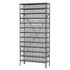 Akro-Mils Steel Shelving Kit, 12x36x79, 96 Bins, Gray/Clear