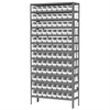 Steel Shelving Kit, 12x36x79, 96 Bins, Gray/White