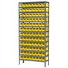 Akro-Mils Steel Shelving Kit, 12x36x79, 96 Bins, Gray/Yellow