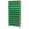 Steel Shelving Kit, 12x36x79, 60 Bins, Gray/Green