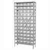 Akro-Mils Steel Shelving Kit, 12x36x79, 60 Bins, Gray/Clear