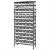 Akro-Mils Steel Shelving Kit, 12x36x79, 60 Bins, Gray/Blue
