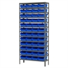 Akro-Mils Steel Shelving Kit, 12x36x79, 48 Bins, Gray/Red
