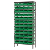Akro-Mils Steel Shelving Kit, 12x36x79, 48 Bins, Gray/Green