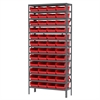 Akro-Mils Steel Shelving Kit, 12x36x79, 48 Bins, Gray/Red