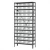 Akro-Mils Steel Shelving Kit, 12x36x79, 48 Bins, Gray/Clear