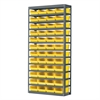 Akro-Mils Steel Shelving Kit, 12x36x79, 48 Bins, Gray/Yellow