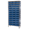 Steel Shelving Kit, 12x36x79, 36 Bins, Gray/Blue