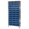 Akro-Mils Steel Shelving Kit, 12x36x79, 36 Bins, Gray/Blue