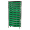 Steel Shelving Kit, 12x36x79, 36 Bins, Gray/Green