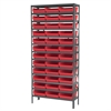 Steel Shelving Kit, 12x36x79, 36 Bins, Gray/Red
