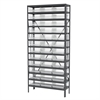 Akro-Mils Steel Shelving Kit, 12x36x79, 36 Bins, Gray/Clear