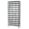 Steel Shelving Kit, 12x36x79, 36 Bins, Gray/Clear