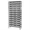 Akro-Mils Steel Shelving Kit, 12x36x79, 36 Bins, Gray/White