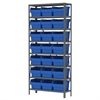 Steel Shelving Kit, 12x36x79, 24 Bins, Gray/Blue