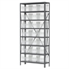 Akro-Mils Steel Shelving Kit, 12x36x79, 24 Bins, Gray/Clear