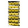 Steel Shelving Kit, 12x36x79, 24 Bins, Gray/Yellow