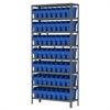 Akro-Mils Steel Shelving Kit, 12x36x79, 64 Bins, Gray/Blue