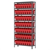 Steel Shelving Kit, 12x36x79, 64 Bins, Gray/Red