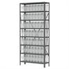 Akro-Mils Steel Shelving Kit, 12x36x79, 64 Bins, Gray/Clear