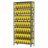 Steel Shelving Kit, 12x36x79, 64 Bins, Gray/Yellow