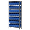 Akro-Mils Steel Shelving Kit, 12x36x79, 40 Bins, Gray/Blue