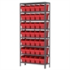 Steel Shelving Kit, 12x36x79, 40 Bins, Gray/Red