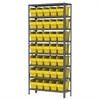 Akro-Mils Steel Shelving Kit, 12x36x79, 40 Bins, Gray/Yellow