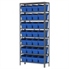 Steel Shelving Kit, 12x36x79, 32 Bins, Gray/Blue