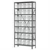 Steel Shelving Kit, 12x36x79, 32 Bins, Gray/Clear