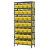 Steel Shelving Kit, 12x36x79, 32 Bins, Gray/Yellow