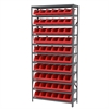 Steel Shelving Kit, 12x36x79, 10 Bins, Gray/Red
