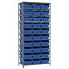 Steel Shelving Kit, 18x36x79, 32 Bins, Gray/Blue