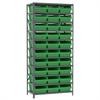 Steel Shelving Kit, 18x36x79, 32 Bins, Gray/Green