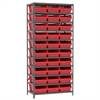 Akro-Mils Steel Shelving Kit, 18x36x79, 32 Bins, Gray/Red