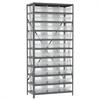 Akro-Mils Steel Shelving Kit, 18x36x79, 32 Bins, Gray/Clear
