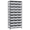 Steel Shelving Kit, 18x36x79, 32 Bins, Gray/White