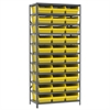Steel Shelving Kit, 18x36x79, 32 Bins, Gray/Yellow