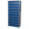 Akro-Mils Steel Shelving Kit, 18x36x79, 80 Bins, Gray/Blue