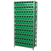 Akro-Mils Steel Shelving Kit, 18x36x79, 80 Bins, Gray/Green