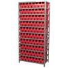 Akro-Mils Steel Shelving Kit, 18x36x79, 80 Bins, Gray/Red