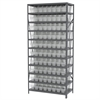Akro-Mils Steel Shelving Kit, 18x36x79, 80 Bins, Gray/Clear