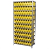 Steel Shelving Kit, 18x36x79, 80 Bins, Gray/Yellow