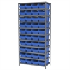 Akro-Mils Steel Shelving Kit, 18x36x79, 40 Bins, Gray/Blue